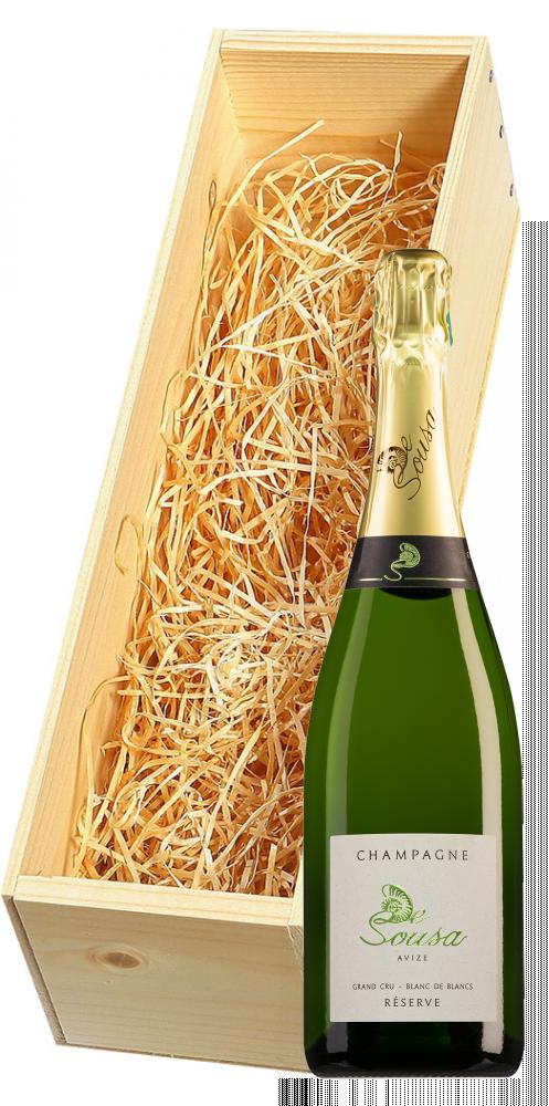 Wijnkist met De Sousa Champagne Grand Cru Blanc de Blancs Réserve Brut