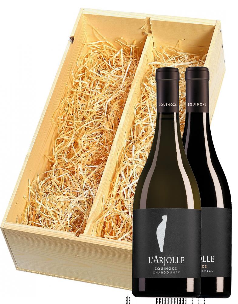 Wijnkist met Domaine de l'Arjolle Côtes de Thongue Equinoxe Chardonnay  en Cabernet-Syrah
