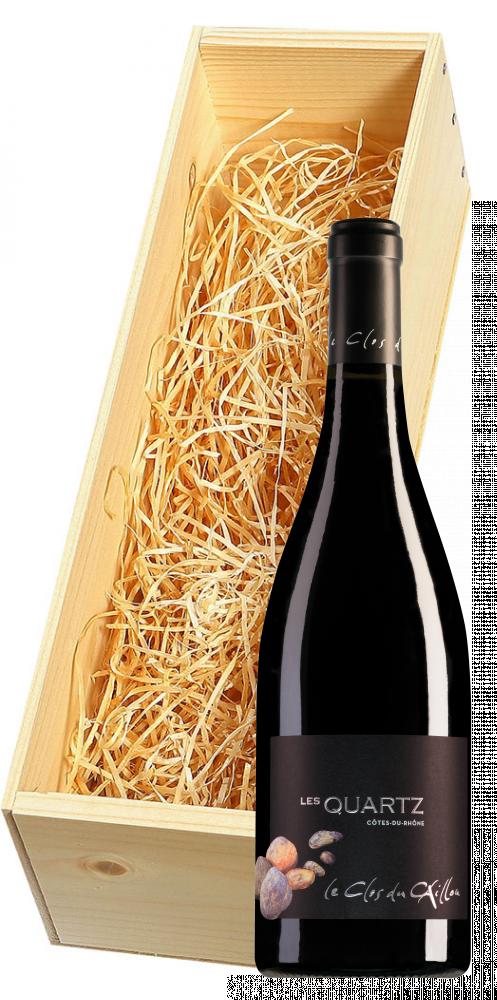 Wijnkist met Le Clos du Caillou Côtes du Rhône Les Quartz